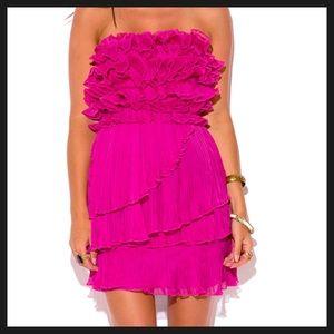 Dresses & Skirts - NEW! Hot Pink Ruffled Strapless Mini Dress Size S
